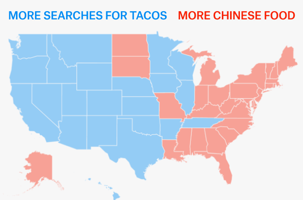 a few months ago jennifer lee showed me what happens when you map google searches for tacos versus chinese food in the us